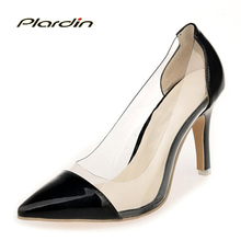plardin 2018 High Heels Shallow Sexy Elegant Splicing color Women Party Wedding Pumps Shoes Woman Spring Summer ladies shoes(China)
