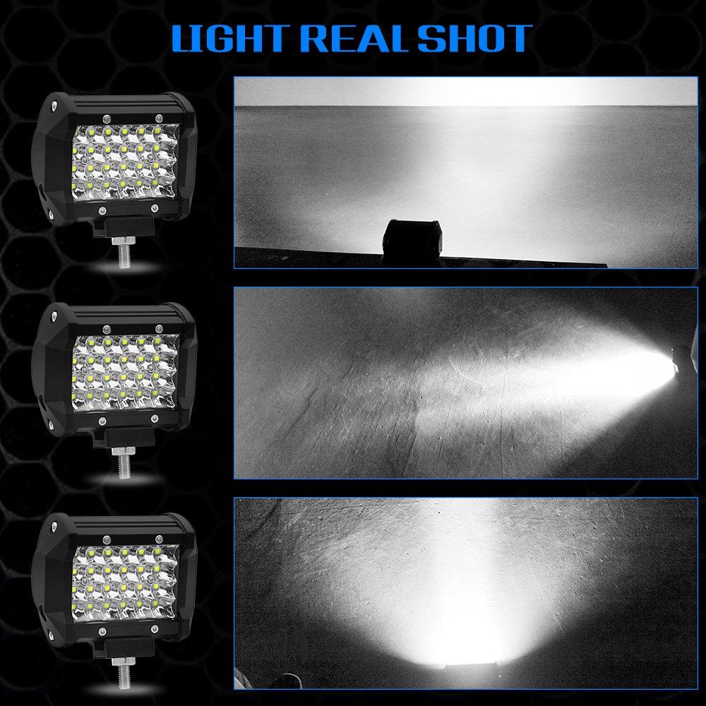 Image 3 - 4 дюйма 72 Вт четыре ряда светодиодный световой бар 12 в 6000 К автомобильный рабочий свет дневные ходовые огни модифицированный внедорожный свет на крышу украшение автомобиля-in Световая рейка/рабочее освещение from Автомобили и мотоциклы