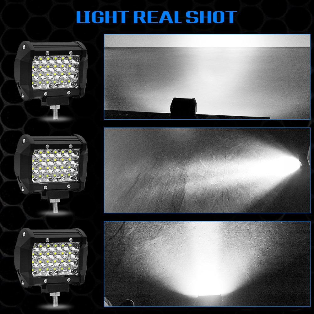 Image 3 - 4 Inch 72W Four Rows Led Light Bar 12V 6000K Car Work Light Daytime Running Lights Modified Off Road Roof Light Car Decoration-in Light Bar/Work Light from Automobiles & Motorcycles
