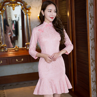 New Arrival Fashion Pink Lace Mini Cheongsam Chinese Women S Short Dress Elegant Qipao Vestidos Size