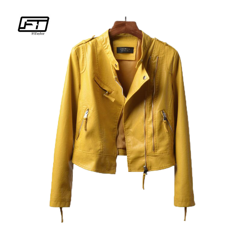 Fitaylor New Autumn Women Soft PU   Leather   Jacket Slim Short Biker Jacket Ladies   Leather   Jacket Motorcycle Punk Outwear