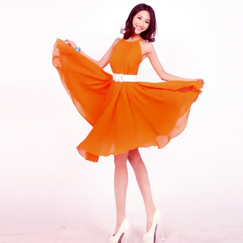 Hot Orange Summer Sundress Garden Party Guest Dress Short Plus size gown maternity dress