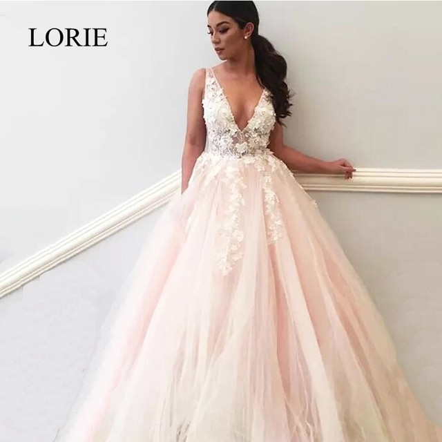 LORIE Elegant Women Evening Party Dress Long 2018 Plunging 3D Flowers Light Pink Formal Crystal Bling Prom Dresses Evening Gowns