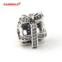 Adatto Pandora Charms Bracciale All Wrapped Up Fascino con CZ 100% Originale 925 Sterling Silver Perline FAI DA TE per Monili Che Fanno FL302