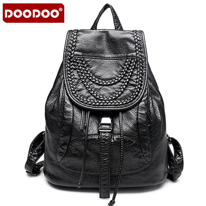 2017 High Quality Genuine Leather Women Backpack Fashion Backpacks For Teenage Girls Black Casual Travel School Bag Major Brands high quality fashion rock band backpack for teenage women men casual daypack college student preppy school backpack travel bags