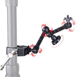 Image 2 - Регулируемый фрикционный шарнирный кронштейн 11 дюймов + Супер Зажим для SLR ЖК монитора, светодиодный светильник, аксессуары для камеры