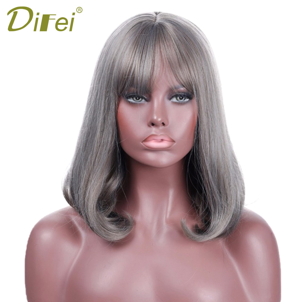 DIFEI Short Black Bob Wigs for Women Heat Resistant Synthetic Grey Wigs with Air Bangs Cheap Brown Wigs