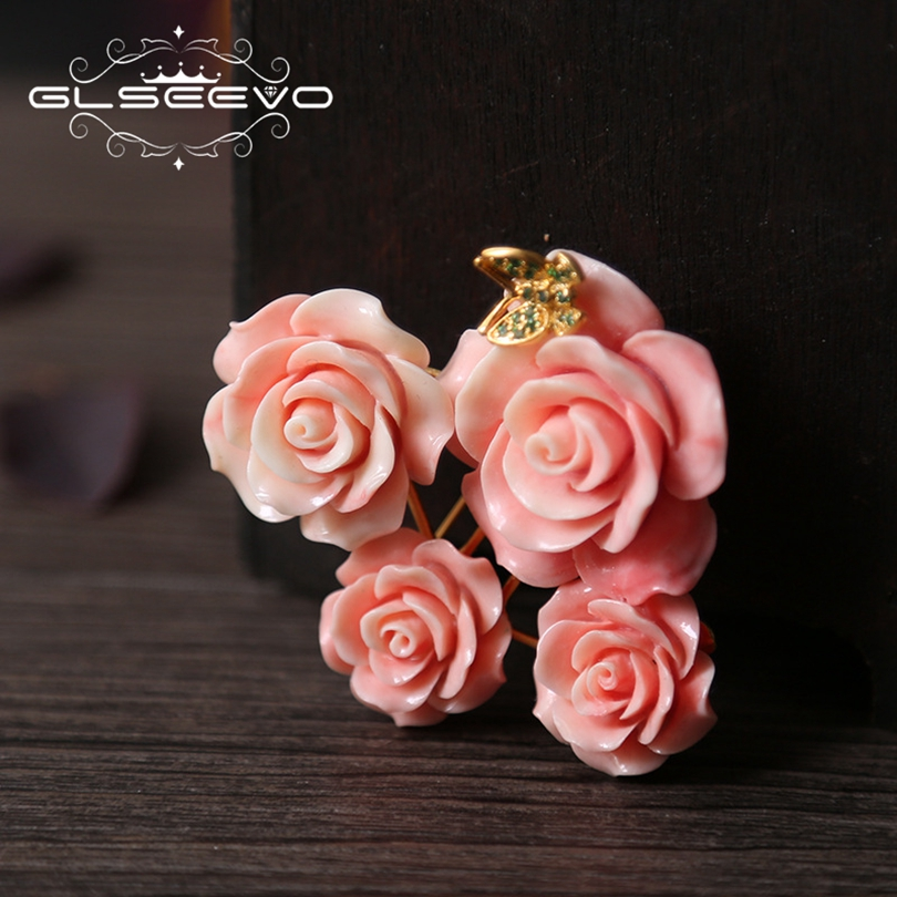 GLSEEVO Natural Coral Powder Flower Brooch Pins Inset Butterfly Brooch For Women Accessories Dual Use Luxury Fine Jewelry GO0165