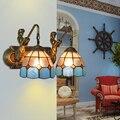 Mittelmeer Tiffany Doppel Meerjungfrau Glas Leuchte Wand Lampen Wand Licht Licht E27 Nacht Wand Leuchten Hause Dekoration Beleuchtung-in LED-Innenwandleuchten aus Licht & Beleuchtung bei