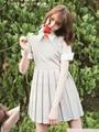 Япония журнал мода женщин резкое воротом платье сексуальный милый короткие рукава серый / черный / красный