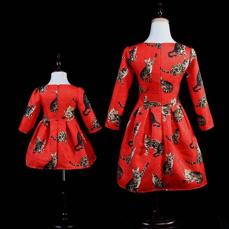 Aiqingsha mère fille robes à manches longues vêtements chat imprimer nouvelle marque maman et fille robe soirée famille correspondant tenues - 2