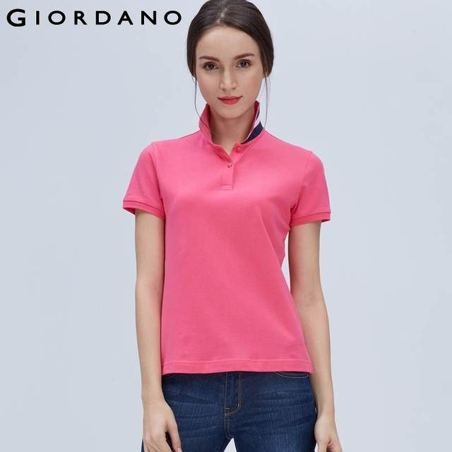 Giordano Women Polo Shirt Solid Collar Button Short Sleeves Polos Femme  Camisetas Poloshirt Branded Clothing Ladies c6764ad3f