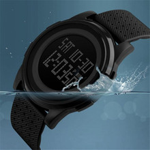 1PC Fashion Black font b Mens b font font b watch b font Rubber Band Digital