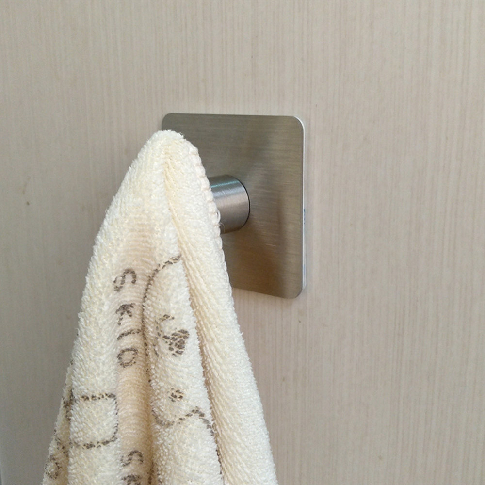 3M Sticker Adhesive Stainless Steel Hooks Wall Door Clothes Coat Hat Hanger Kitchen Bathroom Rustproof Towel Hooks