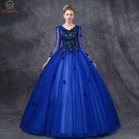 Ходить рядом с вами Королевский Синий Пышное Платье с v образным одежда с длинным рукавом Цветочные Аппликации Тюль бальное платье официаль