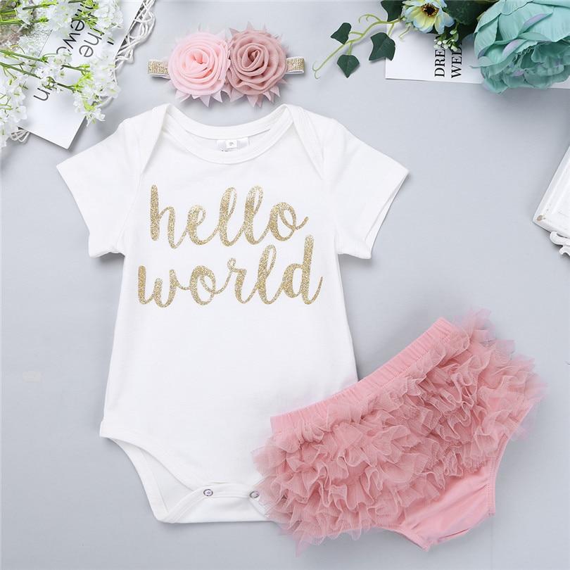 iEFiEL Newborn Baby Girls Hello World Outfit Short Sleeves Romper Bodysuit with Ruffle Tutu Shorts Bloomers Headband Set