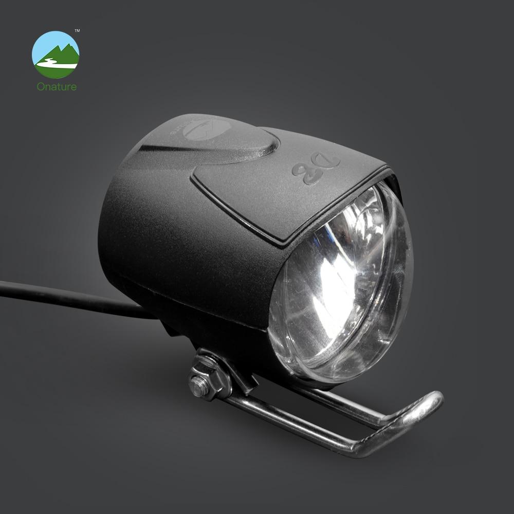 Onature Small Ebike Light 40 Lux Input DC6V 12V 24V 36V 48V 60V Electric Bike Headlight For Bafang Motor