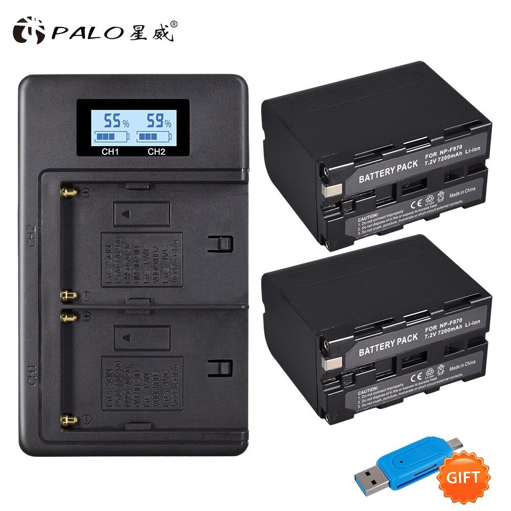 2 pièces 7200 mAh NP-F970 NP F970 batterie d'affichage de puissance + 1 LCD plus rapide double chargeur pour SONY F960 F550 F970 F570 CCD-RV100
