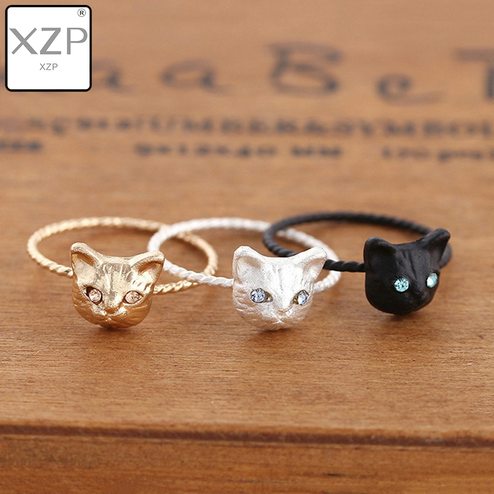 XZP 1PC New Cute Popular Hot Golden Black Silver Clolor Women Ring Pussy Lovely Cat Free Size Rhinestones Fashion Jewelry Gift