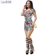 YELIANHU 2017 Summer Womens Comics Printed Casual Evening Party Dress Sexy Mini Slit Dresses For Women Plus Size Vestidos 5JQ28