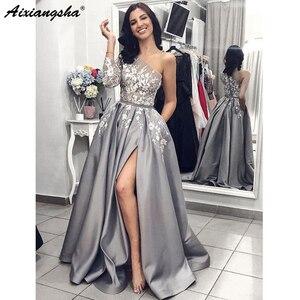 Image 3 - Grau Satin Abendkleid 2019 A Line Sexy Split Weiß Spitze Lange Prom Kleider mit Taschen Eine Schulter Langen Ärmeln Prom kleid