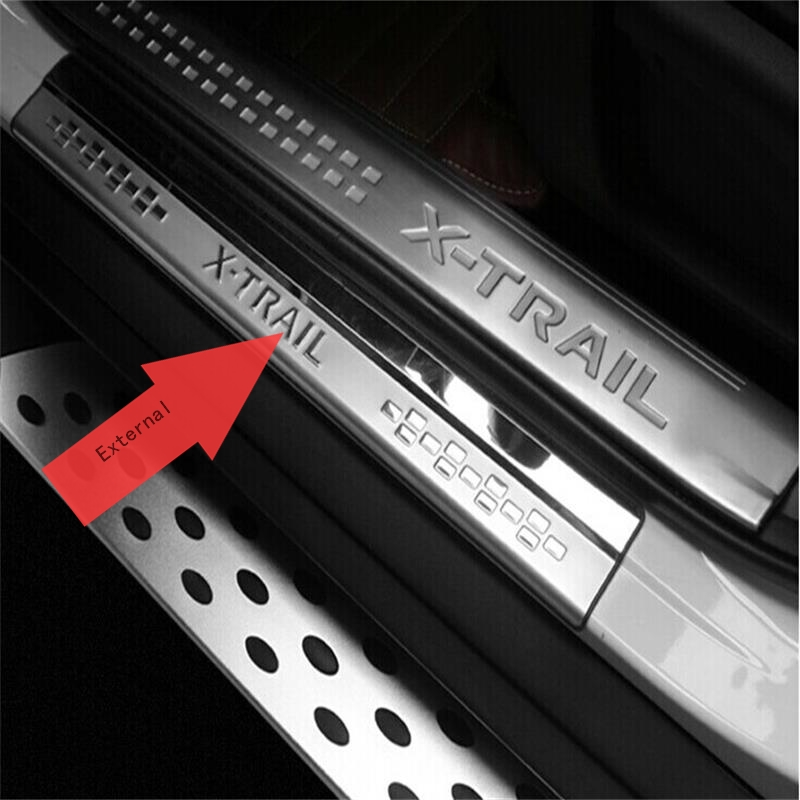 Fit For 2014 2015 2016 2017 Nissan X-Trail X Trail XTrail T32 Door Sill Scuff Plate Welcome Pedal Trim Car Styling Accessories stainless steel side door sill cover scuff plate trim 4pcs set fit for nissan x trail xtrail t32 2014 to 2016 car styling
