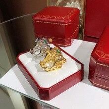 d306a2b037a1 Anillo de leopardo de la joyería del Partido de la manera de la marca de La  Plata de Ley 925 para las mujeres Rosa Oro Negro pat.