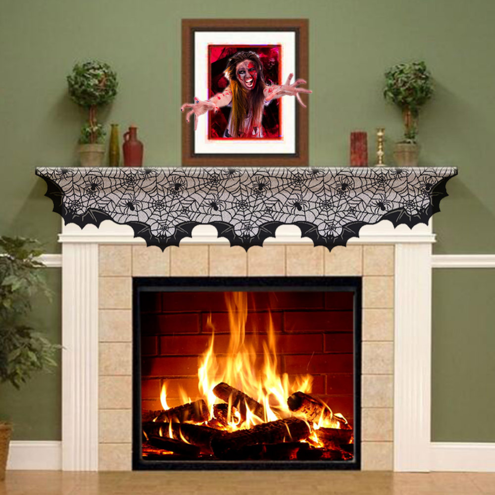 Fireplace Halloween Decorations: Aliexpress.com : Buy Halloween Lace Fireplace Mantle Cover
