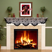 Halloween Lace Fireplace Mantle Cover 50 200cm Spider And Bats Decor Halloween Decoration Accessories Event Party