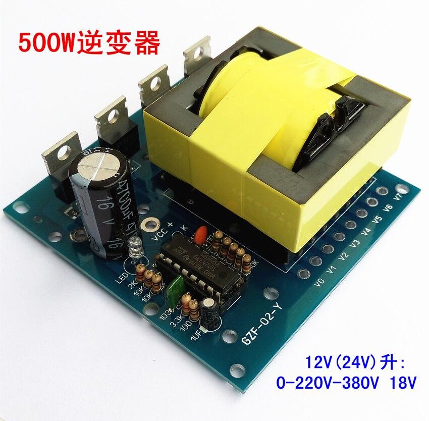 500W 12V 24V inverter DC to AC 18V 0-220V-380V simple first stage booster набор bosch дрель аккумуляторная gsb 18 v ec 0 601 9e9 100 адаптер gaa 18v 24