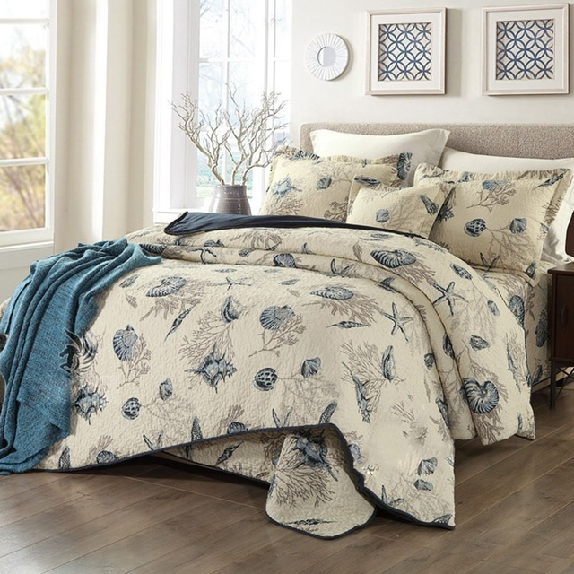 CHAUSUB Marine Print Cotton Quilt Set 4pcs Bed Linens Quilted Bedspread Bed  Cover Duvet Cover Bedding