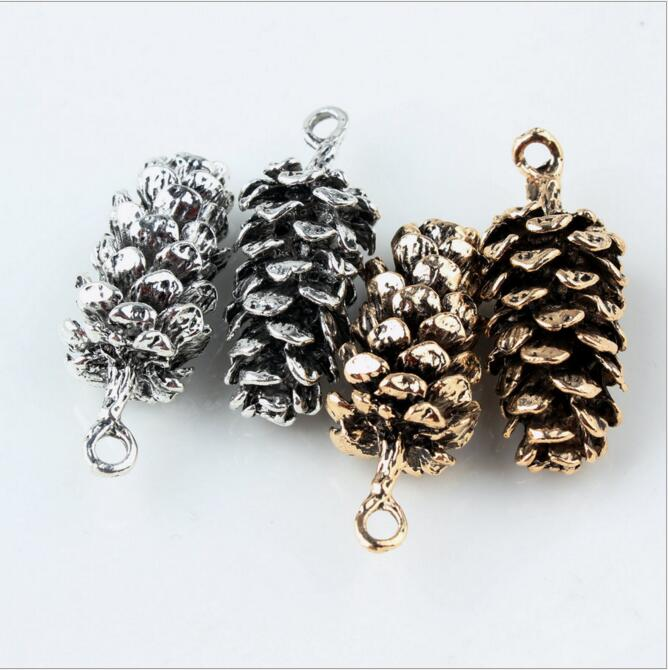 New Style Alloy Ancient Gold/silver Tone Cartoon Pine Cones Shape Metal  Pendants Charms Diy