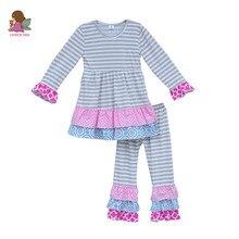 Usine Prix Boutique Filles Vêtements Ensembles Gris Rayé Robes Multi Volants Pantalon Enfants Ensembles Enfants Bébé Coton Tenues F015