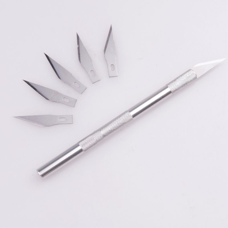 Non-Slip Metal Scalpel Knife Tools Kit Cutter Engraving Craft knives + 5 pcs Blade Mobile Phone PCB DIY Repair Hand Tools 42pcs lot blade and handle 11 and 23 medical scalpel opening repair tools knife for disposable sterile mobile phone beauty diy