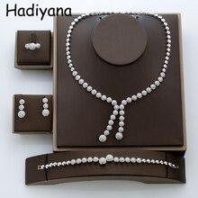 مجموعات مجوهرات HADIYANA مستديرة مكعب الزركون الفاخرة رائعة العصرية مزاجه مجوهرات الزفاف AccessoriesTZ8015 Conjunto دي الفرح