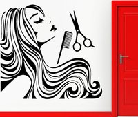 New Arrival Hair Shop Vinyl Wall Decal Long Hair Sexy Girl Spa Barber shop Hair Shop Salon Wall Sticker Window Glass Decoration