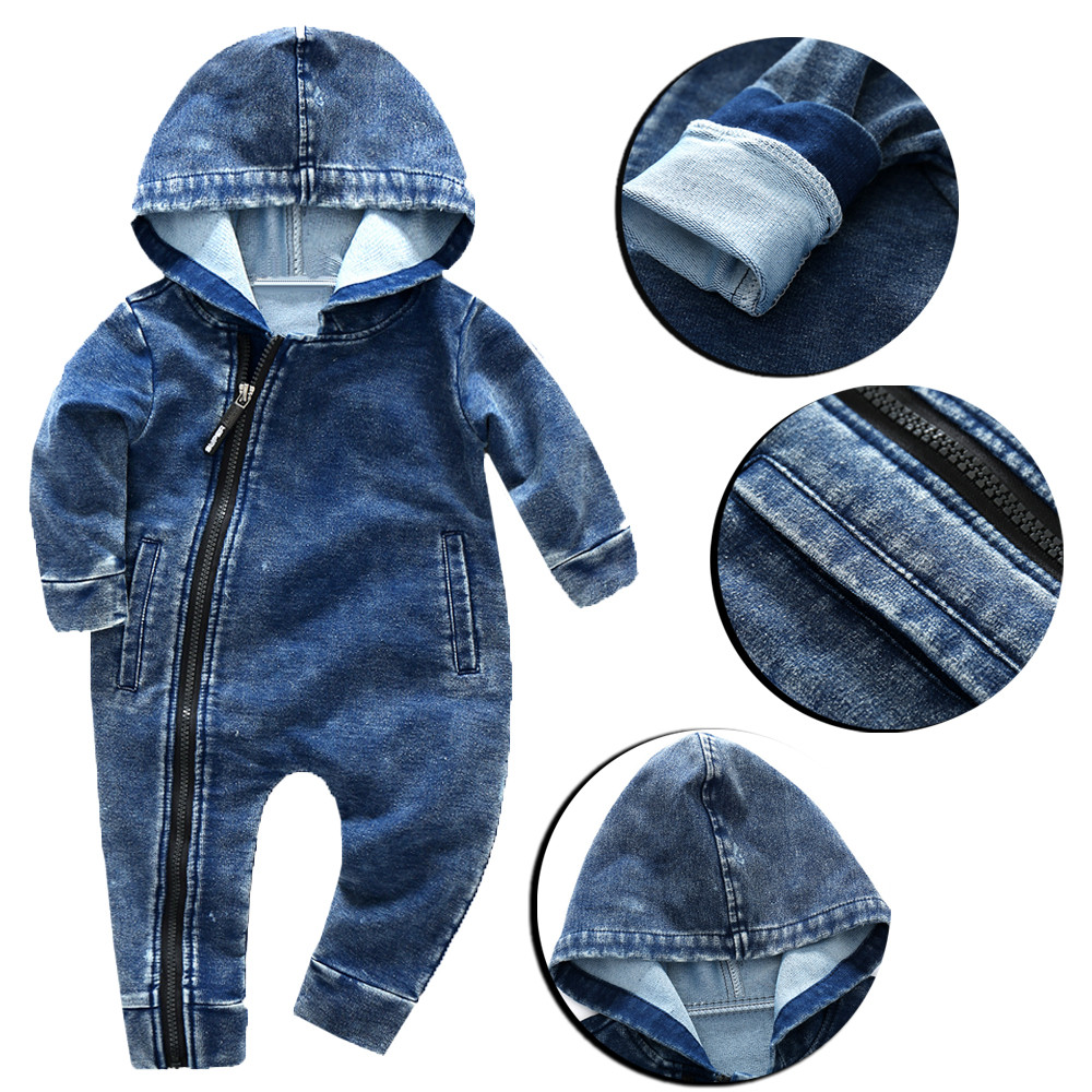 4c17a31585dfd Baby Boys Girls Wear Hooded Conjoined Clothes Jumpsuit Jeans Clothes Baby  Winter Clothes New Hot Sale Children's Jumpsuit