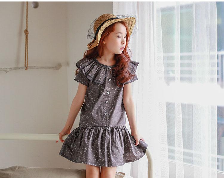new fashion 2017 girl dress ruffles preppy style kids dresses for girls children school clothing dot short sleeve children dresses girls 2017 summer dresses kids clothes (9)