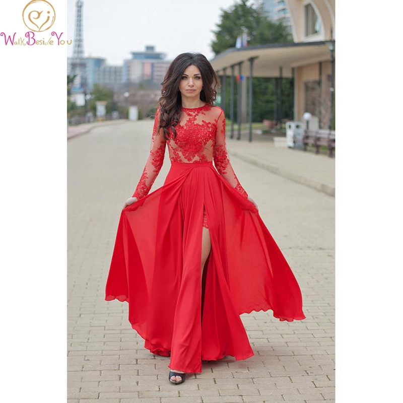 Chiffon Evening Dress Red Soft Appliques Backless A-line Full Sleeves O-neck Floor Length Cheap High Split Sexy Lace Prom Gown