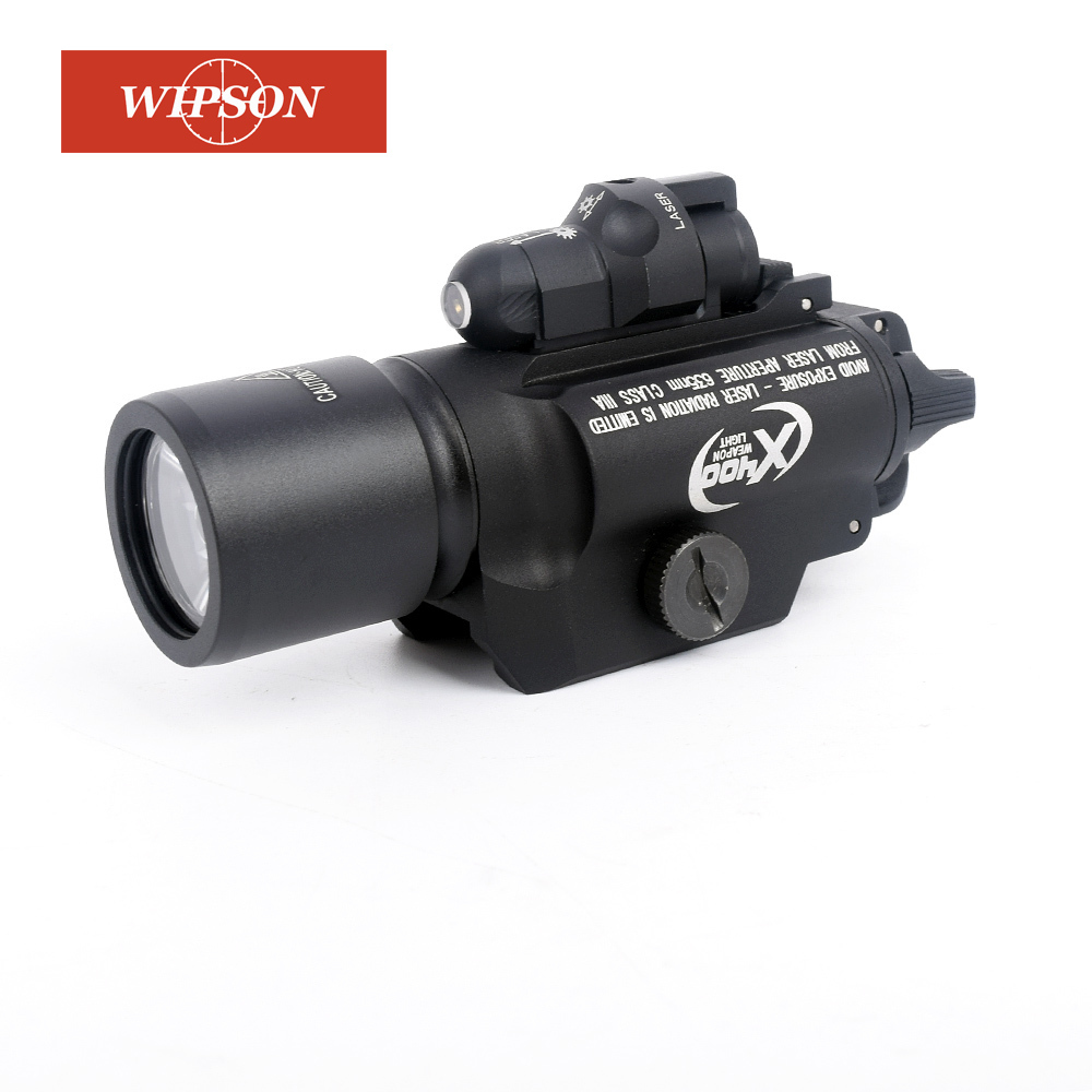 WIPSON X400 LED Flashlight Tactical Light Weapon Handgun Light With Red Laser Sight For Pistol For Hunting tgpul tactical x400 gun light led flashlight for pistol handgun laser combo light hunting scout torch for weaver picatinny rail