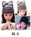 30pcs/lot fedex fast casual winter style beanies rhinestone lace animal cat fox ear warm knit Hats solid wool cap