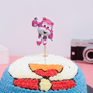 Image 3 - 1PCS/PACK Baby Shower Party Happy Birthday Cake Toppers Super Wings Theme Kids Favors Cupcake Decoration Flag Events Supplies