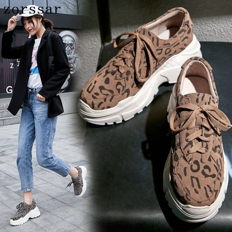 2019 Spring new women flats shoes platform sneakers shoes   leather     suede   casual shoes lace up flats heels creepers moccasins