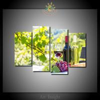 4 Adet/takım Kırmızı Şarap Duvar Resimlerinde Sanat Resim Baskı Tuval üzerine Oturma Odası için Ev Dekorasyon Duvar Sanatı Resim için
