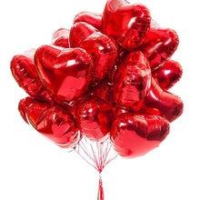 10 pçs 18 Polegada rosa ouro vermelho coração balões casamento hélio balão inflável metálico festa de aniversário do casamento decoração presentes