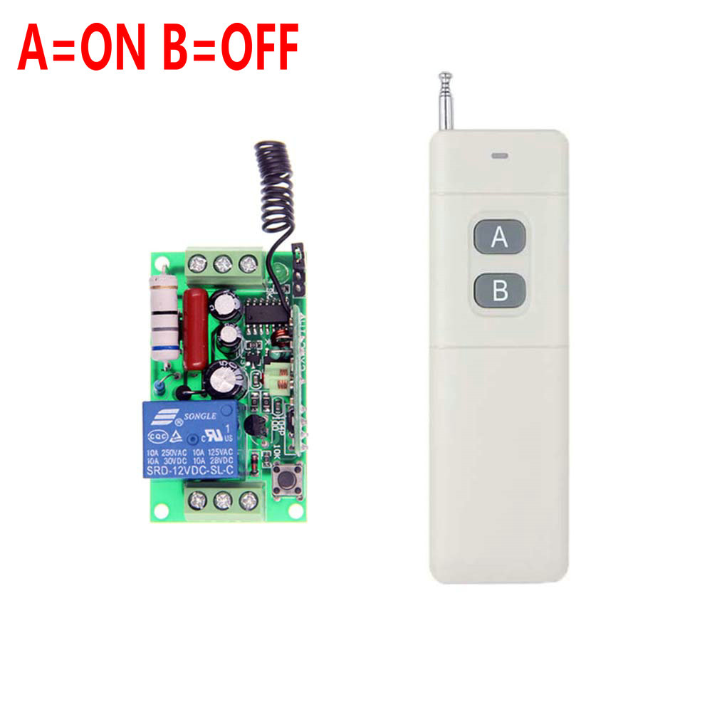 3000m AC 220V 110V 1 CH 1CH RF Wireless Remote Control Switch System,315/433.92 MHz Transmitter + Receiver,Latched (A-ON,B-OFF) 3000m ac 220v 110v 1 ch 1ch rf wireless remote control switch system 8ch transmitter 8 x receiver toggle momentary 315 433 92