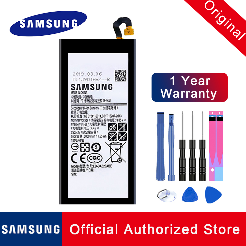 100% Original Replacement <font><b>Battery</b></font> EB-BA520ABE For Samsung GALAXY <font><b>A5</b></font> 2017 A520F SM-A520F 2017 Edition Phone Batteria 3000mAh Tool image