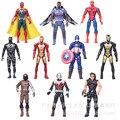Vengadores Capitán América Spiderman Iron Man Hombre Hormiga Falcon Guerra Civil War Machine PVC Figuras de Acción Juguetes Modelo 10 unids/set 16 cm