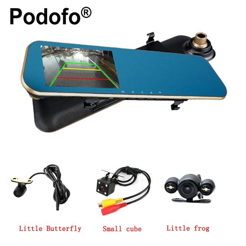 Podofo Dual Lens Car Camera Dash Cam Auto Video Recorder With 4.3 Inch Rear View Mirror Display Screen Registratory Camcorder