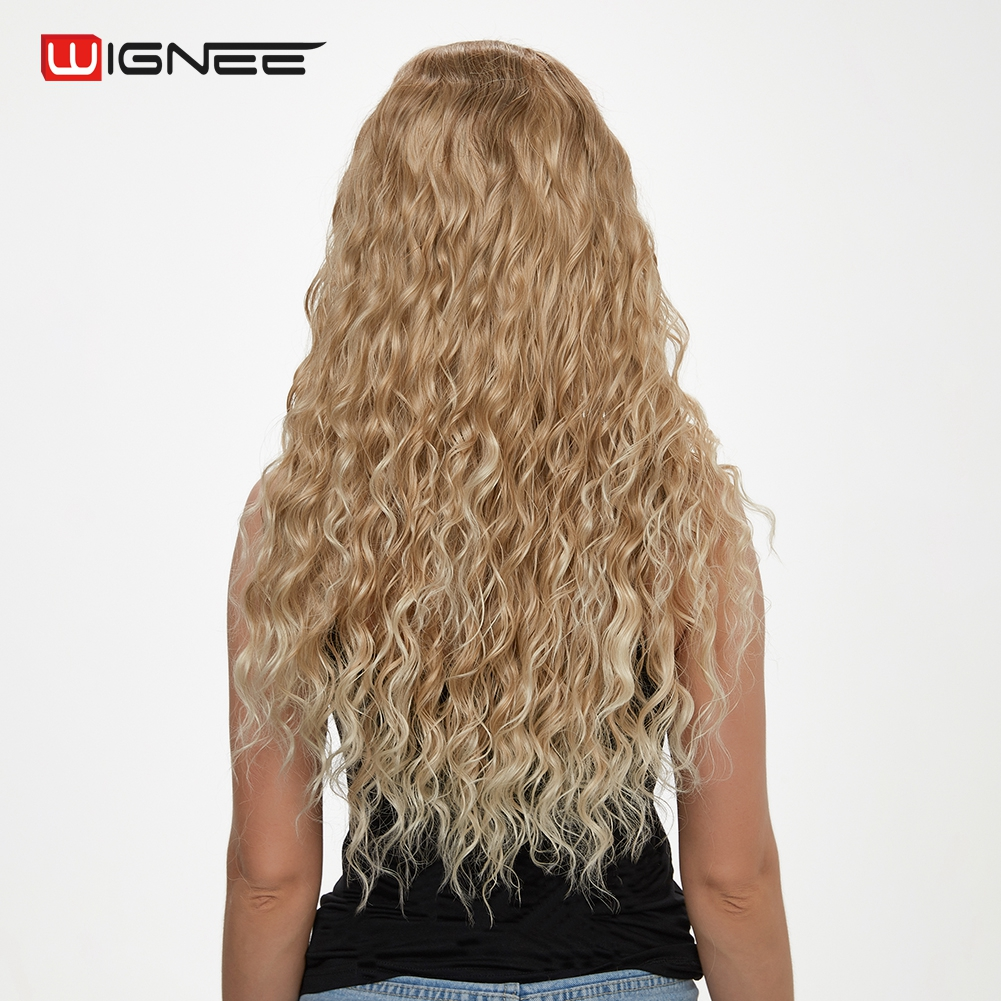 Wignee Middle Part Afro Kinky Curly None Lace Synthetic Wigs For Women Mixed Brown Ash Blonde High Density Long Hair Cosplay Wig